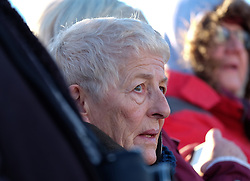 © Licensed to London News Pictures. <br /> 16/12/2014. <br /> <br /> Hartlepool, United Kingdom<br /> <br /> A woman looks on during an event to commemorate the bombardment of Hartlepool by German warships during World War One. During the bombardment 130 civilians were killed and more than 500 were wounded. The Headland's Heugh Gun Battery returned fire in what was the only battle to be fought on British soil during World War One, and one of the Battery's soldiers, Theo Jones of the Durham Light Infantry, became the first British soldier to be killed by enemy action on home ground in the war.<br /> <br /> Photo credit : Ian Forsyth/LNP