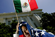 Immigrants gather in front of the State Capitol in Sacramento, CA during a nationwide day of marches to demonstrate immigrant's contribution to the economy on Monday, May 1, 2006.<br />