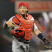 NEW YORK, NEW YORK - July 27: Catcher Yadier Molina #4 of the St. Louis Cardinals during the St. Louis Cardinals Vs New York Mets regular season MLB game at Citi Field on July 27, 2016 in New York City. (Photo by Tim Clayton/Corbis via Getty Images)