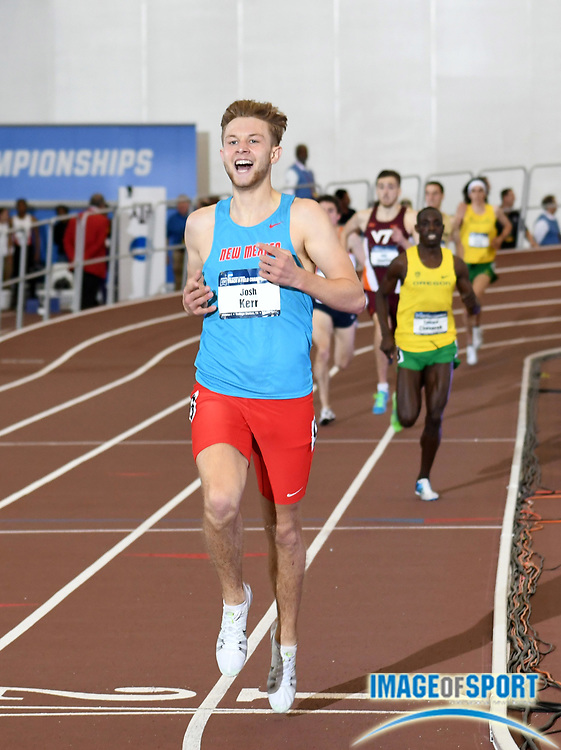Mar 11, 2017; College Station, TX, USA; Josh Kerr of New Mexico celebrates after defeating Edward Cheserek of Oregon to win the mile in 4:03.22 during the NCAA Indoor Track and Field Championships at the Rhonda and Frosty Gilliam Jr. Indoor Track Stadium at the McFerrin Athletic Center.