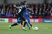 Andy Barcham midfielder for AFC Wimbledon (17) sneaks ball past Portsmouth defender Kieron Freeman (17)  during the Sky Bet League 2 match between AFC Wimbledon and Portsmouth at the Cherry Red Records Stadium, Kingston, England on 26 April 2016. Photo by Stuart Butcher.