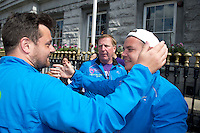 "After walking 108 miles from Donegal to Galway, Ronnie Whelan's ""Myaware.ie Annual Walk"" in aid of Myasthenia, arrived to Hotel Meyrick in Galway city centre was Love/Hate's Elmo Laurence Kinlan,  Danny O'Carroll aka Buster from Mrs. Brown's boys son of Brendan and  Ronnie Whelan, (centre) . Photo:Andrew Downes"