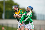 Cumann na mBunscoil Primary School Finals at Trim, 13th June 2015<br /> Division  3 Camogie Final<br /> Moylagh NS vs Boyerstown NS<br /> Jane Bray (Boyerstown NS) &amp; Caitriona Flynn (Moylagh NS)<br /> Photo: David Mullen /www.cyberimages.net / 2015