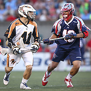 Mark Cockerton #41 of the Rochester Rattlers controls the ball during the game at Harvard Stadium on August 9, 2014 in Boston, Massachusetts. (Photo by Elan Kawesch)