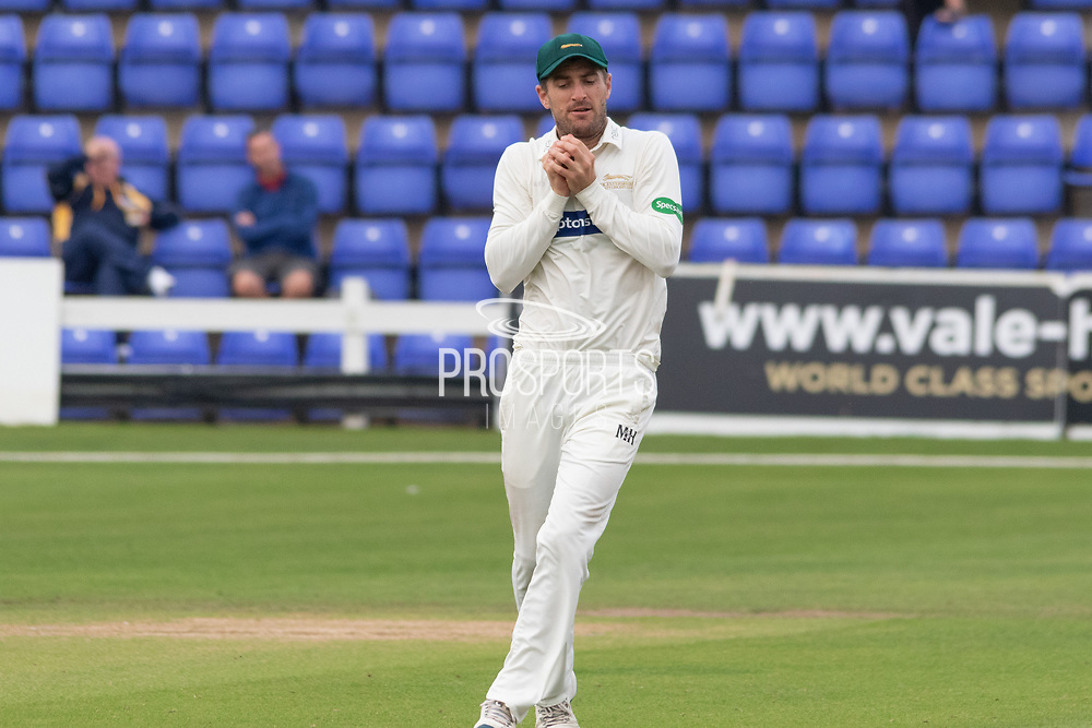 WICKET - Colin Ackemann catches Samit Patel during the Specsavers County Champ Div 2 match between Glamorgan County Cricket Club and Leicestershire County Cricket Club at the SWALEC Stadium, Cardiff, United Kingdom on 16 September 2019.