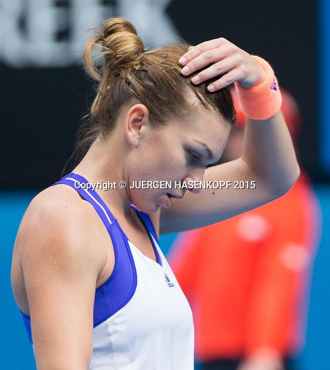 Simona Halep (ROU)<br /> <br /> Tennis - Australian Open 2015 - Grand Slam ATP / WTA -  Melbourne Olympic Park - Melbourne - Victoria - Australia  - 27 January 2015.