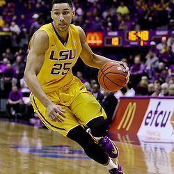 Feb 13, 2016; Baton Rouge, LA, USA; LSU Tigers forward Ben Simmons (25) against the Texas A&M Aggies during the first half of a game at the Pete Maravich Assembly Center. Mandatory Credit: Derick E. Hingle-USA TODAY Sports