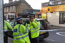 Police attend the scene of a stabbing on Bromley Road at the corner of Lee Bridge Road in Leyton, NE London.. London, January 09 2019.