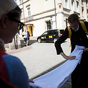 KRAKOW, POLAND 30 JULY: Scenes from 'Old Town'. As the pilgrims of World Youth Day make their journey to Brzegei for the final vigil, others spent time in prayer and fellowship.