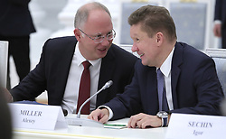 November 1, 2018 - Moscow, Russia - Russian Direct Investment Fund CEO Kirill Dmitriev, left, chats with Gazprom CEO Alexei Miller before the start of a meeting with German business leaders at the Kremlin November 1, 2018 in Moscow, Russia. (Credit Image: © Kremlin Pool via ZUMA Wire)
