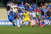 AFC Wimbledon midfielder Alfie Eagan (28) with a shot on goal during the EFL Sky Bet League 1 match between AFC Wimbledon and Bristol Rovers at the Cherry Red Records Stadium, Kingston, England on 8 April 2017. Photo by Matthew Redman.