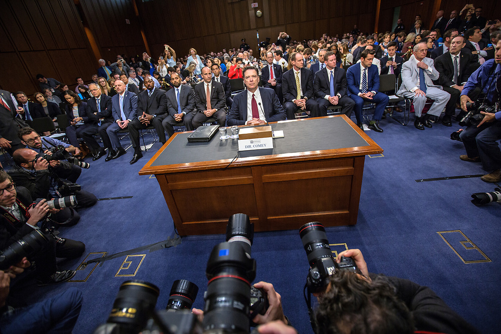 Former FBI Director James Comey testifies in front of the US Senate Intelligence Committee as part of the Committees investigation into what involvement Ruissia had in the election of Donald Trump as the US President.
