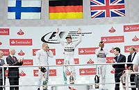 v.l. Valtteri Bottas (Williams Mercedes), Sieger Nico Rosberg (Mercedes) Lewis Hamilton (Mercedes)<br /> Formel 1, Grosser Preis Santander von Deutschland 2014, Hockenheimring<br /> Norway only<br /> F1