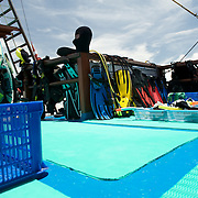 Dive gear drying at the end of a diving cruise.