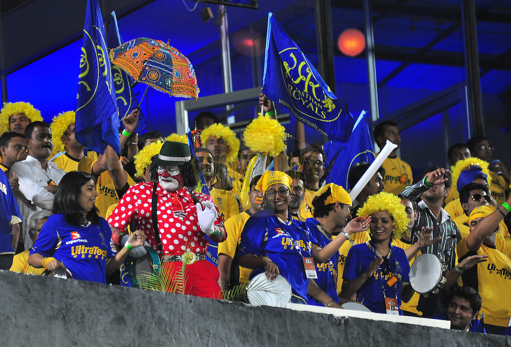 Rajasthan Royals supporeters during match 30 of the the Indian Premier League ( IPL) 2012  between The Rajasthan Royals and the Royal Challengers Bangalore held at the Sawai Mansingh Stadium in Jaipur on the 23rd April 2012..Photo by Arjun Panwar/IPL/SPORTZPICS