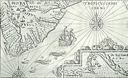 The shape of South Africa, as delineated in or about 1640, through the Netherlanders, had already given Dutch names to some bays.  In the right hand corner a picture of the Bay of Sao Bras (now Mosselbay) is given.  Gulls and so-called trombas are floating on the sea.