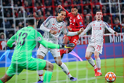 13.03.2019, Allianz Arena, Muenchen, GER, UEFA CL, FC Bayern Muenchen vs FC Liverpool, Achtelfinale, Rückspiel, im Bild Serge Gnabry (FC Bayern) beim seinem Treffer zum 1:1, v.l. Alisson Becker (FC Liverpool), Virgil Van Dijk (FC Liverpool), Andy Robertson (FC Liverpool) // during the UEFA Champions League round of 16, 2nd leg match between FC Bayern Muenchen and FC Liverpool at the Allianz Arena in Muenchen, Germany on 2019/03/13. EXPA Pictures © 2019, PhotoCredit: EXPA/ SM<br /> <br /> *****ATTENTION - OUT of GER*****