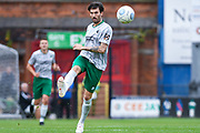 Connor Oliver of Blyth Spartans (8) passes the ball forward during the Vanarama National League match between York City and Blyth Spartans at Bootham Crescent, York, England on 27 August 2018.