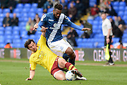 Burnley midfielder Joey Barton tackles Birmingham City midfielder Jacques Maghoma during the Sky Bet Championship match between Birmingham City and Burnley at St Andrews, Birmingham, England on 16 April 2016. Photo by Alan Franklin.