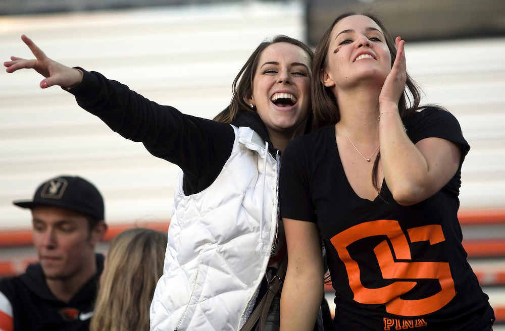 Oregon State cheer during the Beavers' 26-7 victory overWeber State in the 2015 season opener in Reser Stadium, in Corvallis, on Friday, Sept. 4, 2015.
