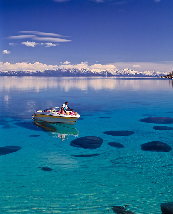 Lake Tahoe Scenic Family Boating Over Clear Water
