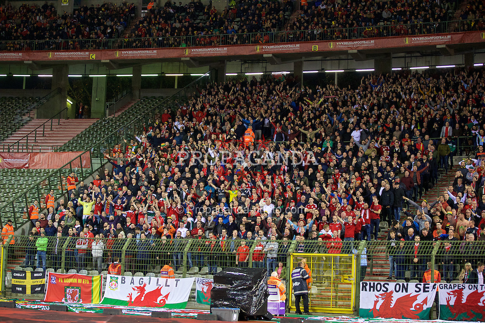 BRUSSELS, BELGIUM - Sunday, November 16, 2014: Wales supporters during the UEFA Euro 2016 Qualifying Group B game against Belgium at the King Baudouin [Heysel] Stadium. (Pic by David Rawcliffe/Propaganda)