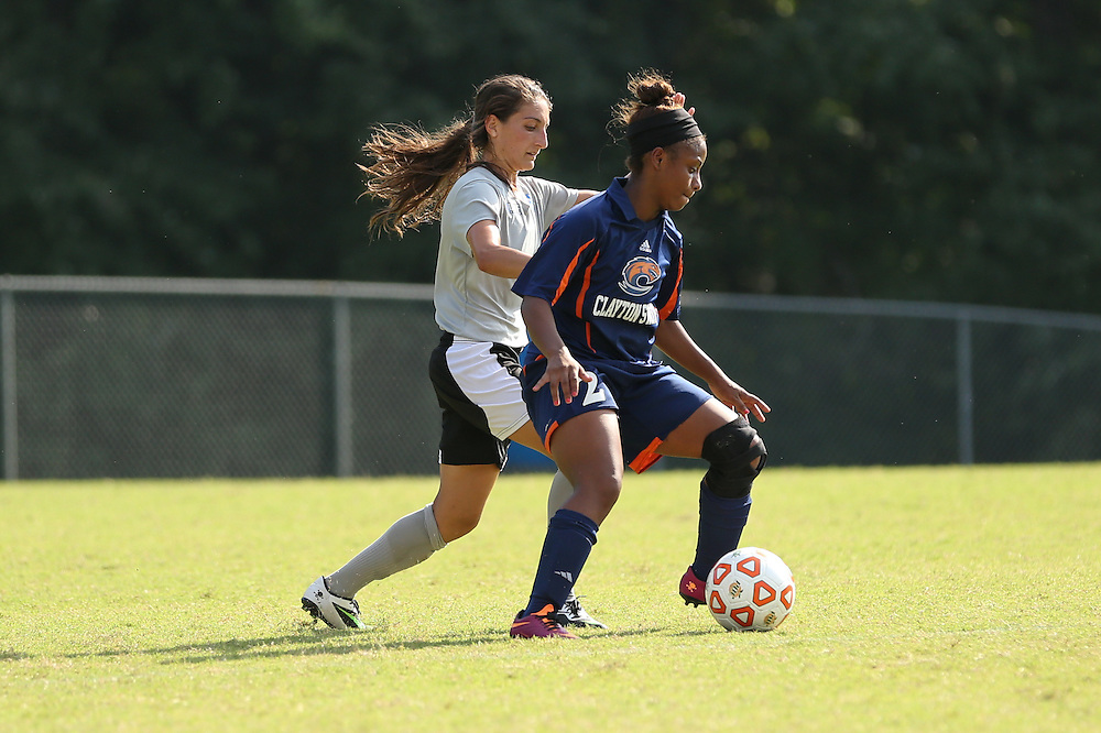 Aug. 24, 2014; Morrow, GA, USA; Clayton State University player Denisha Paskell during the preliminary game against the University of West Florida at CSU. Photo by Kevin Liles / kevindliles.com