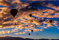 Hot air balloons flying at sunrise (with the Sandia Mountains in the background), Albuquerque International Balloon Fiesta, Albuquerque, New Mexico USA.