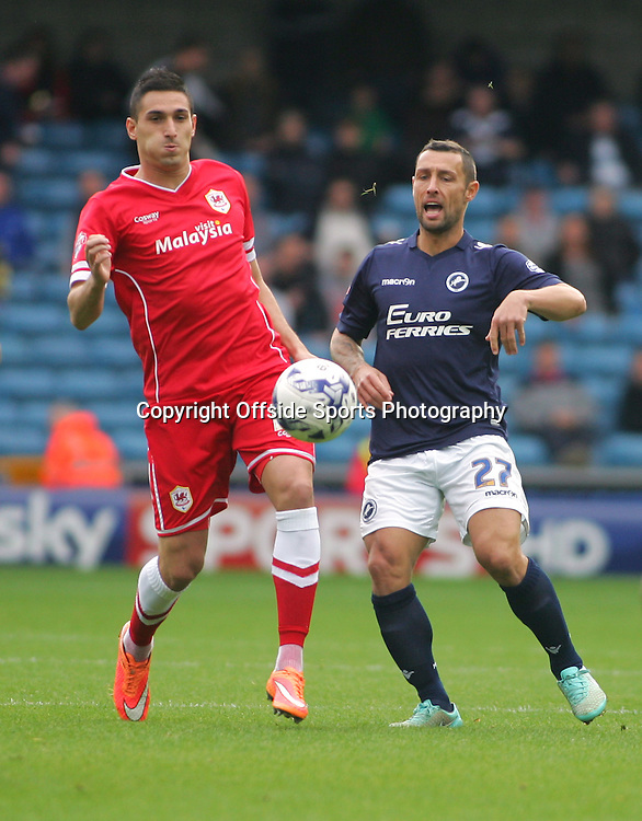25 October 2014 - Sky Bet Championship - Millwall v Cardiff City - Federico Macheda of Cardiff in action.<br /> <br /> <br /> Photo: Ryan Smyth/Offside