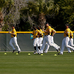 February 21, 2011; Bradenton, FL, USA; Pittsburgh Pirates players work out during spring training at Pirate City minor league training complex.  Mandatory Credit: Derick E. Hingle