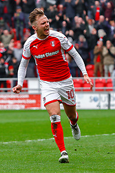 David Ball of Rotherham United celebrates Rotherham United's second goal - Mandatory by-line: Ryan Crockett/JMP - 07/04/2018 - FOOTBALL - Aesseal New York Stadium - Rotherham, England - Rotherham United v Fleetwood Town - Sky Bet League One