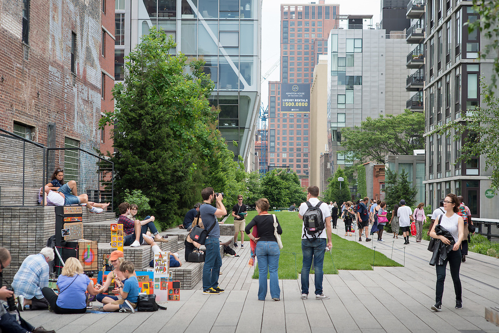People enjoying themselves on the High Line park in New York City, New York, USA