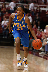 January 20, 2011; Stanford, CA, USA;  UCLA Bruins guard Doreena Campbell (21) dribbles up court against the Stanford Cardinal during the first half at Maples Pavilion.