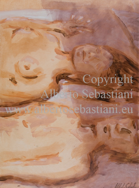 hand made erotic painting representing a couple in bed enlightened by sun. This composition was created as a hand made work following exclusively my own fantasy and personal inspiration; it is an original composition of which I'm the sole author
