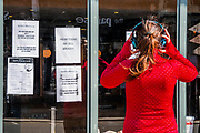 Made in Italy, a restaurant on Northcote Road, puts up signs with a mobile number offering deliveries as well as selling freshly made bread and food items that cannot currently be used. Only two people are allowed in at once - Anti Coronavirus (Covid 19) outbreak in London.
