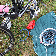 Athletes equipment of swimming goggles and hat and cycle helmet in transition during the Active Q T Ultimate Tri Series Jack's Point Triathlon, Jack's Point,  Queenstown, Otago, New Zealand. 14th January 2012. Photo Tim Clayton