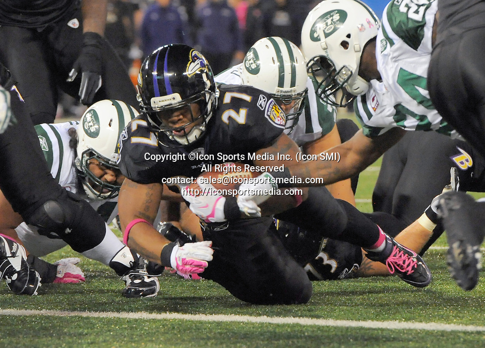 Oct. 2, 2011 - Baltimore, MD, USA - Baltimore Ravens running back Ray Rice crosses scores his team's second touchdown during the first half of their game with the New York Jets  on Sunday, October 2, 2011, in Baltimore, Maryland