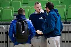 Jaka Lakovic, Rado Trifunovic, head coach of Slovenia and Marko Macura during practice session of Slovenian National Basketball team before qualification matches for FIBA Basketball World Cup 2019, on February 20, 2017 in Arena Stozice, Ljubljana, Slovenia. Photo by Urban Urbanc / Sportida