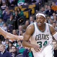 04 March 2012: Boston Celtics small forward Paul Pierce (34) drives past New York Knicks small forward Steve Novak (16) during the Boston Celtics 115-111 (OT) victory over the New York Knicks at the TD Garden, Boston, Massachusetts, USA.