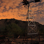 Windmill near the entrance to San tan Regional Park, after sundown - Queen Creek, AZ