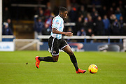Shrewsbury Town FC midfielder Sullay Kaikai on the attack during the Sky Bet League 1 match between Peterborough United and Shrewsbury Town at the ABAX Stadium, Peterborough, England on 12 December 2015. Photo by Aaron Lupton.