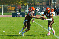 KELOWNA, CANADA - OCTOBER 21: Quarterback Matthew Mahler #17 hands off the ball to receiver Malcolm Miller #18 of the Okanagan Sun during the BCFC Semi-Finals against the Chilliwack Huskers on Sunday, October 21, 2018, at the Apple Bowl, in Kelowna, British Columbia, Canada.  (Photo by Marissa Baecker/Shoot the Breeze)  *** Local Caption ***