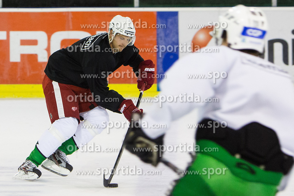 Jan Mursak at hockey practice after press conference of HDD Telemach Olimpija about signing Red Wings hockey player Jan Mursak to Olimpija during lockout in NHL league, on September 25, 2012 in Telemach shop, Ljubljana, Slovenia. (Photo By Matic Klansek Velej / Sportida)