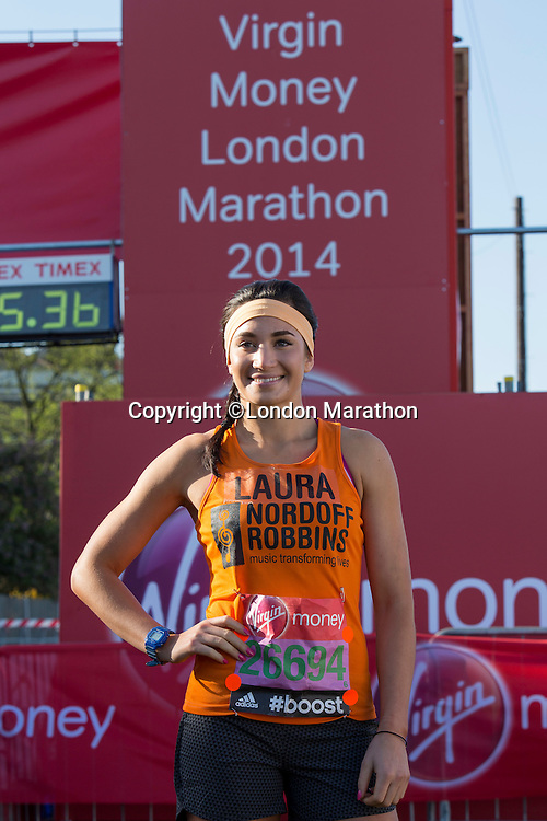 Laura Wright in Greenwich Park ahead of the start of The Virgin Money London Marathon 2014 on Sunday 13 April 2014<br />