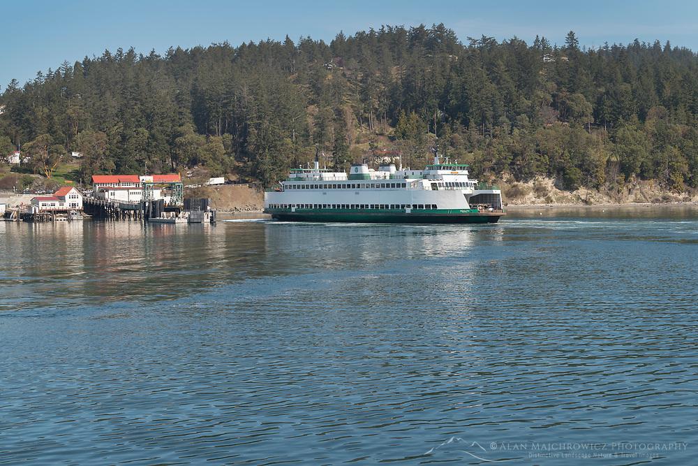Ferry approaching dock on Orcas Island, San Juan Islands Washington