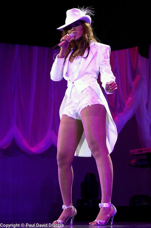 Beyonce Knowles on her Dangerously In Love 2003 UK tour at Sheffields Hallam FM Arena<br /> <br /> 7 November 2003<br /> <br /> Image &copy; Paul David Drabble <br /> www.pauldaviddrabble.co.uk