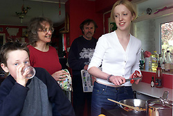 Frances O'leary with her family, April 9, 2000. Photo by Andrew Parsons / i-images..