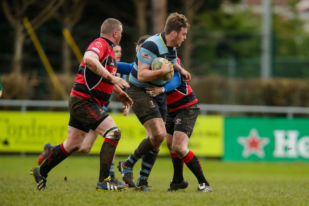 AIL Division 2c Rugby at Old Balreask, Navan 20th February 2016.<br /> Navan RC vs Tullamore RC<br /> Conor Hand (NavanRC) and Adrian Hanley / Ibor O`Scolaidghe (Tullamore)<br /> Photo: David Mullen /www.cyberimages.net / 2016
