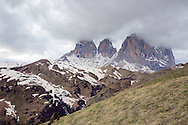 Peaks of Sella Pass in the Dolomite Mountains, South Tyrol, Italy