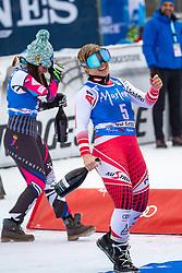19.12.2018, Saslong, St. Christina, ITA, FIS Weltcup Ski Alpin, SuperG, Damen, Flower Zeremonie, im Bild v.l. Nicole Schmidhofer (AUT, 2. Platz), Tina Weirather (LIE, 2. Platz) // f.l. second placed Nicole Schmidhofer of Austria second placed Tina Weirather of Liechtenstein during the Flowers ceremony for the ladie's Super-G of FIS Ski Alpine World Cup at the Saslong in St. Christina, Italy on 2018/12/19. EXPA Pictures © 2018, PhotoCredit: EXPA/ Johann Groder
